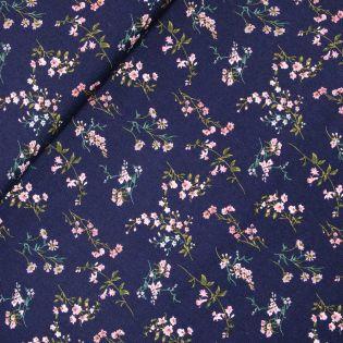 Viskose Crepe - rosa Blütenstränge
