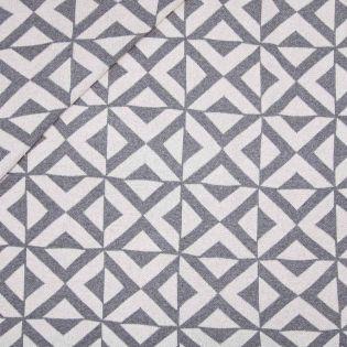 Flach-Strickjersey - Exklusiv - Geometrisches Muster - grau