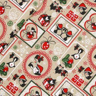 Dekostoff - Weihnachten - Katz und Maus