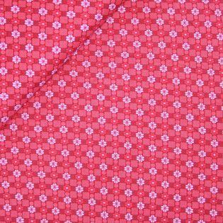 Viskose Stretch - Blütenkacheln - rot