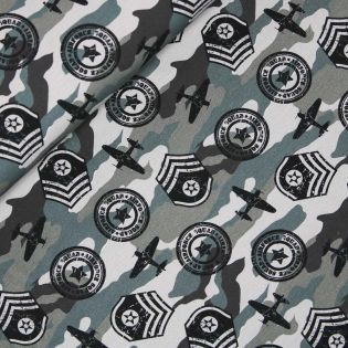 French Terry - Airforce Camouflage - grau