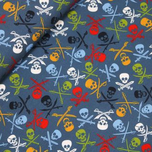 French Terry - Pirate Skulls - blau