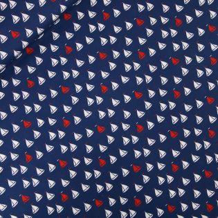 Baumwolle - AHOI - Schiffchen - blau