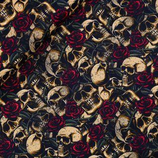 Popeline - Skulls with Roses
