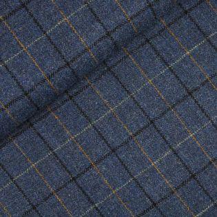 Original Harris Tweed - Herringbone - kariert - blau - schwarz - ocker