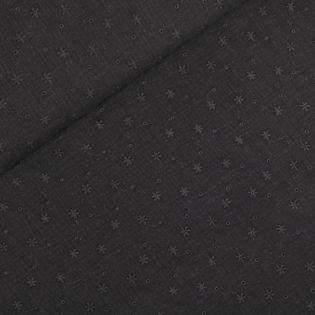 Musselin - bestickte Blümchen - schwarz