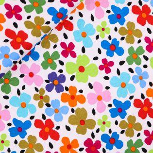 Viskosejersey - Flowerpower - weiß