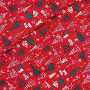 Baumwolle - Weihnachten - Tännenbäume - rot