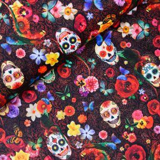 Dekostoff - Velours - Floral Skulls