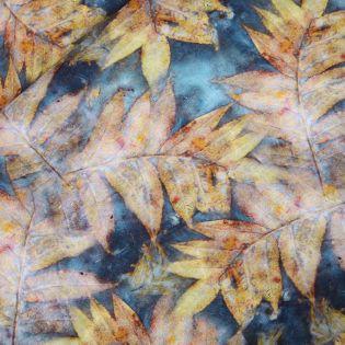 Viskose-Leinen - Herbstblätter