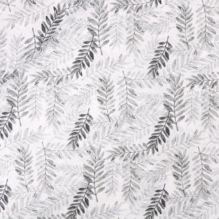 Baumwollvoile - gestempelte Zweige - grau