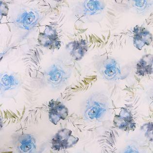 Baumwollvoile - aquarelle Rosen - blau