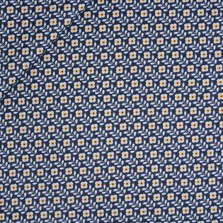 Baumwolle - beschichtet - Flower Power - blau