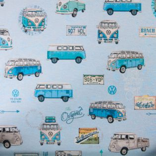 Deko-Jacquard - Gobelin - VW Bulli - blau