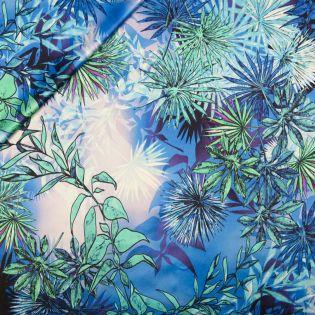 Seidenstretch-Satin - blaues Blütenmeer