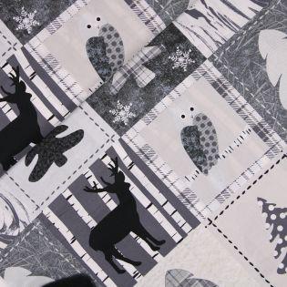 Baumwolle - Winterpatch - grau/weiß
