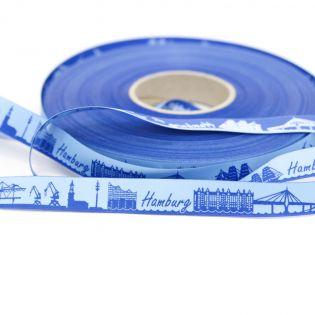 Webband - Skyline Hamburg - hellblau/blau