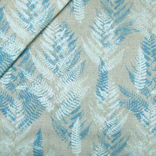 Dekostoff - Half Panama - blaue Palmenblätter