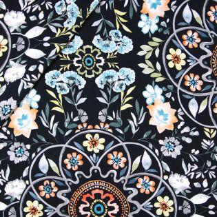 Dekostoff - Half Panama - Blütenmix schwarz