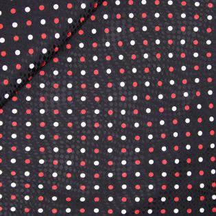 Jaquard-Seide - rote und weiße Punkte