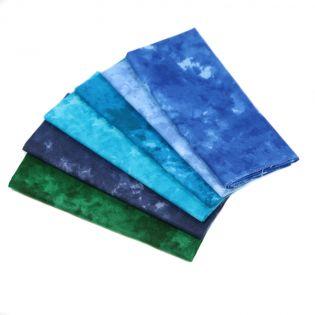 Baumwolle - Kreativpaket - Marmoroptik - blau-grün