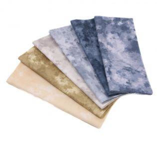 Baumwolle - Kreativpaket - Marmoroptik - blau-beige