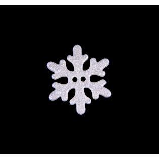 2-Loch-Knopf - 20 mm - Schneeflocke - weiß