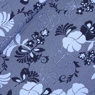 Viskosejersey - Palmenblätter - blau