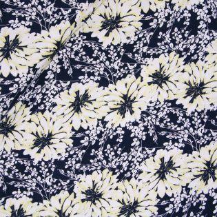 Viskosejersey - große Blüten - gelb