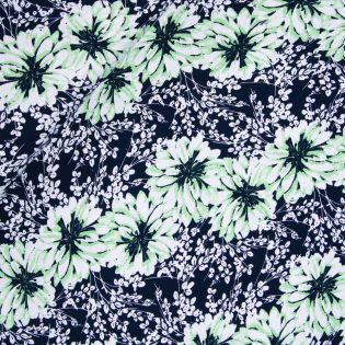 Viskosejersey - große Blüten - grün