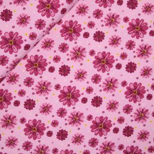 Baumwolljersey - Margeriten - rosa
