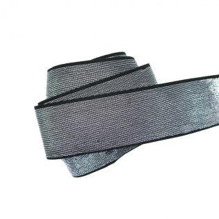 Gummiband - 40mm - silber/schwarz