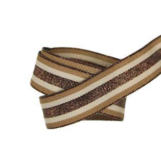 Ripsband - 25mm - Streifen - braun-beige
