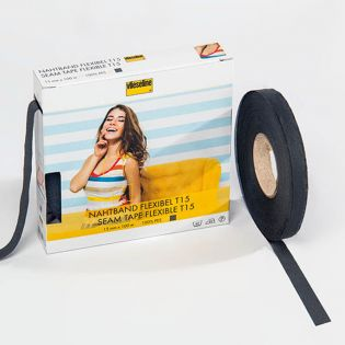 Nahtband - flexibel - 15 mm - grau