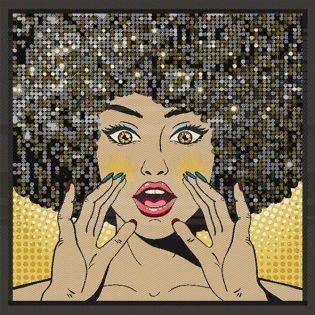 Jacquard Panel - goldene Afrolady