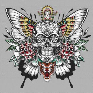 Jacquard Panel - Butterfly-Skull
