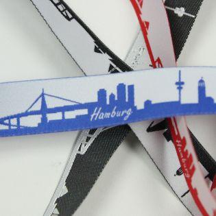 Webband - Skyline Hamburg - blau/weiß