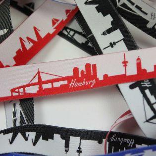 Webband - Skyline Hamburg - rot/weiß