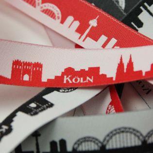 Webband - Skyline Köln - rot/weiß
