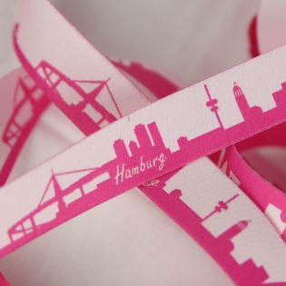 Webband - Skyline Hamburg - pink/weiß