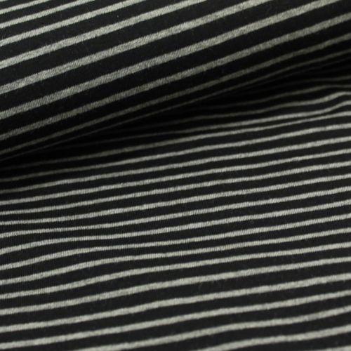 Baumwolljersey - Streifen - schwarz/grau