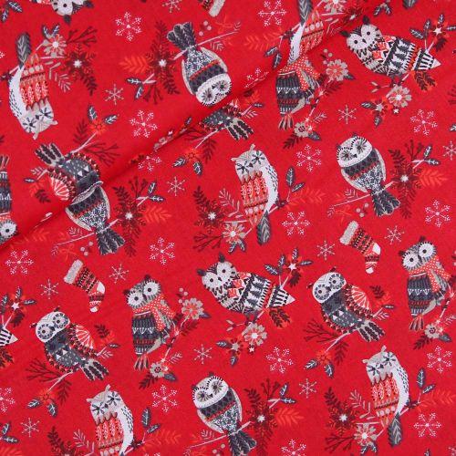 Baumwolle - Weihnachten - Weihnachtseule - rot