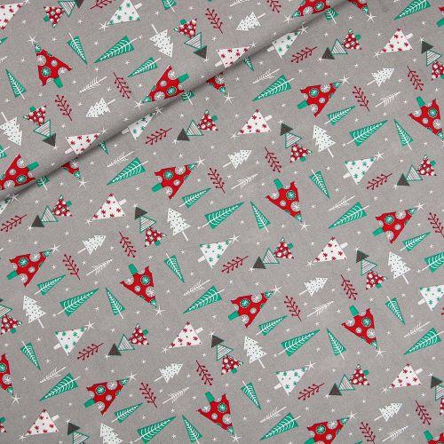 Baumwolle - Weihnachten - Weihnachtsbaum - grau