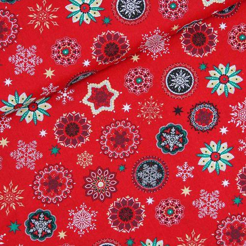 Baumwolle - Weihnachten - bunte Sterne - rot
