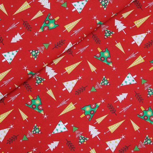 Baumwolle - Weihnachten - Weihnachtsbaum - rot