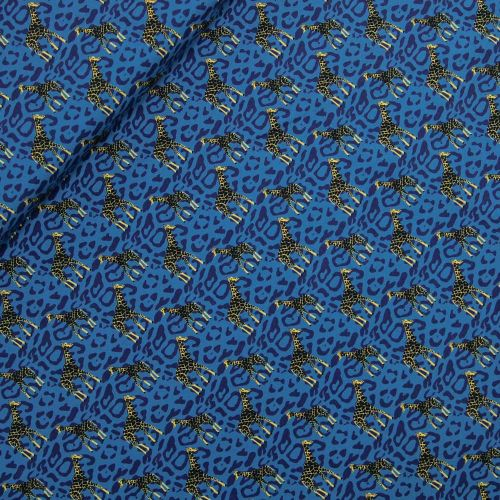 Baumwolljersey - Sauvage-Giraffe - blau