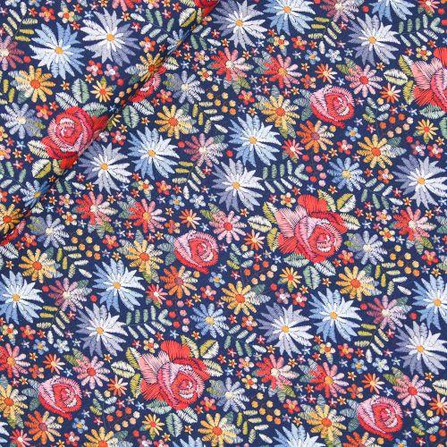 Baumwolljersey - Stickblumen
