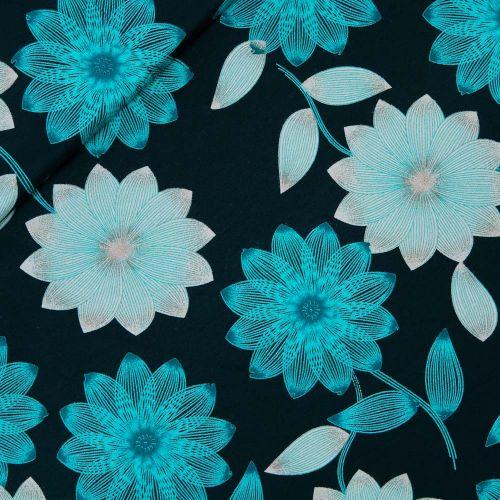 Viskosejersey - Fleurs de Course - blau