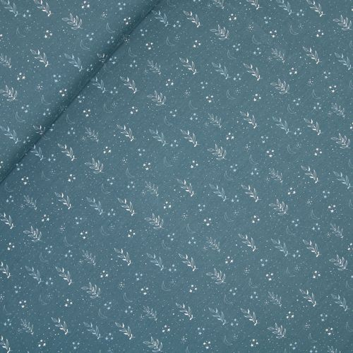 Baumwolljersey - Vintage Blätter - blau
