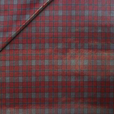 Regenjackenstoff - kariert - Wolle rot-schwarz